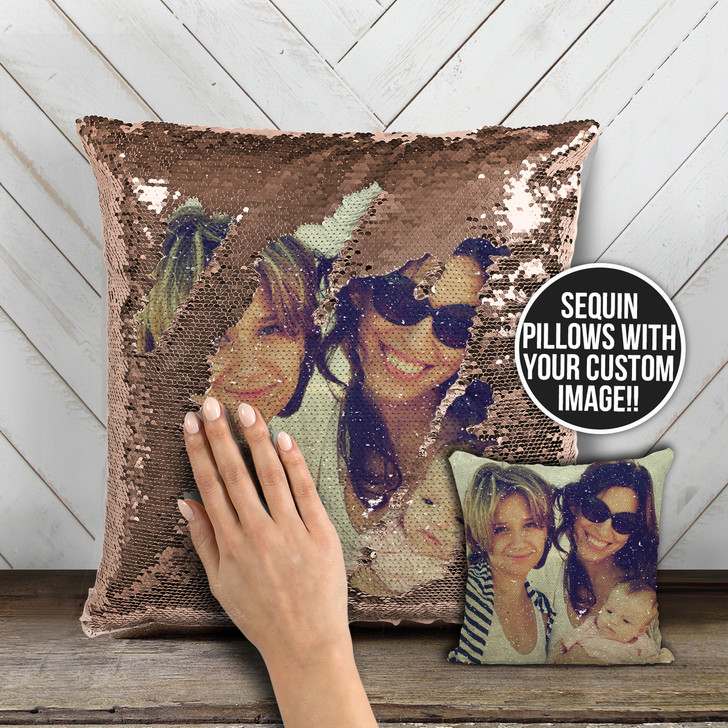 Family or friends favorite photo custom decorative sequin pillowcase pillow