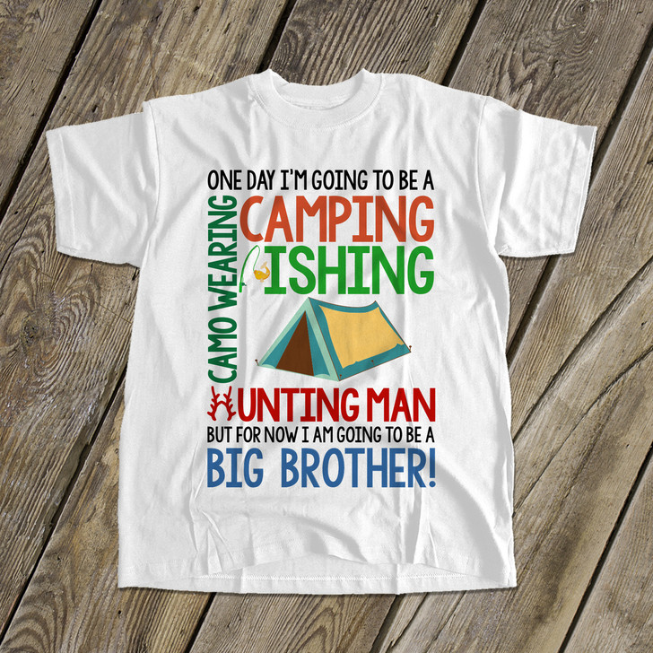 Big brother to be camping fishing hunting pregnancy announcement Tshirt