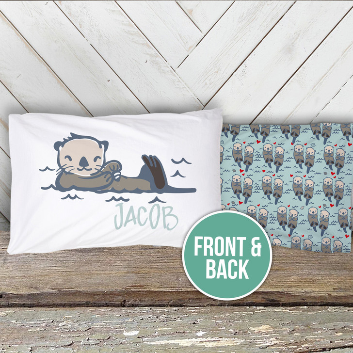 Otter toddler travel personalized pillowcase with optional insert