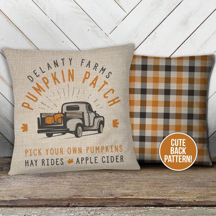 Fall farm pumpkin patch personalized pillowcase pillow