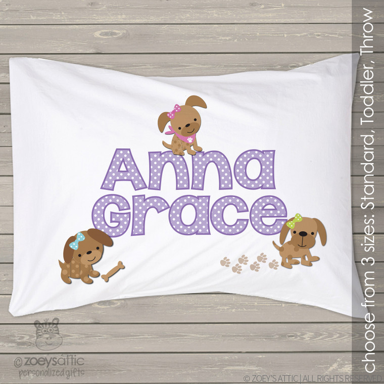 Personalized girl puppy travel or toddler pillow and pillowcase