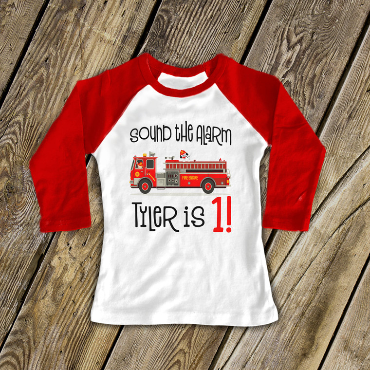 Birthday shirt firetruck any age boy or girl personalized raglan Tshirt