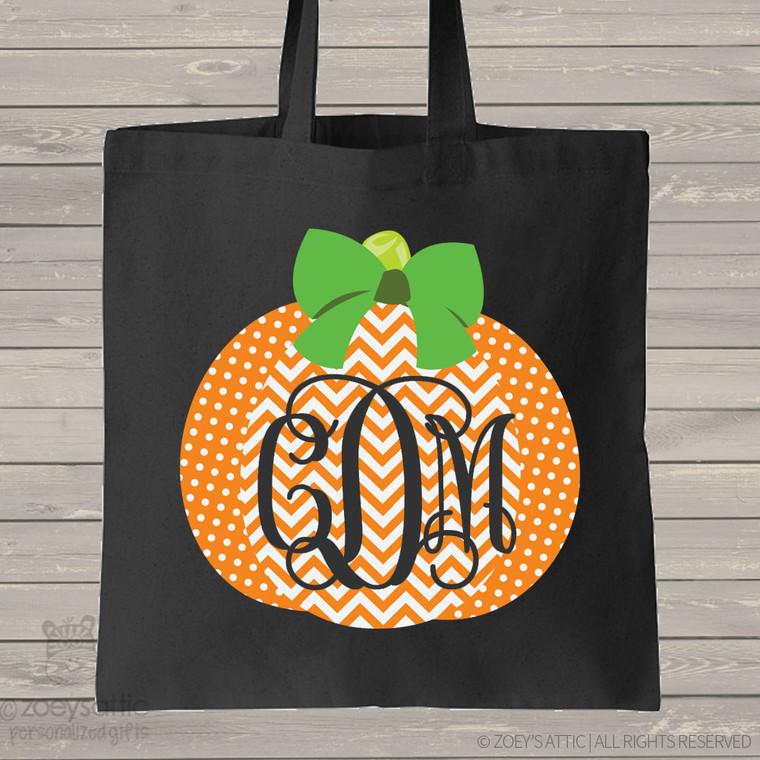 Halloween bag monogram chevron pumpkin DARK trick or treat bag