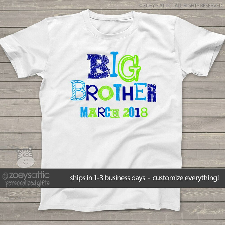 Big brother shirt funky text with due date Tshirt