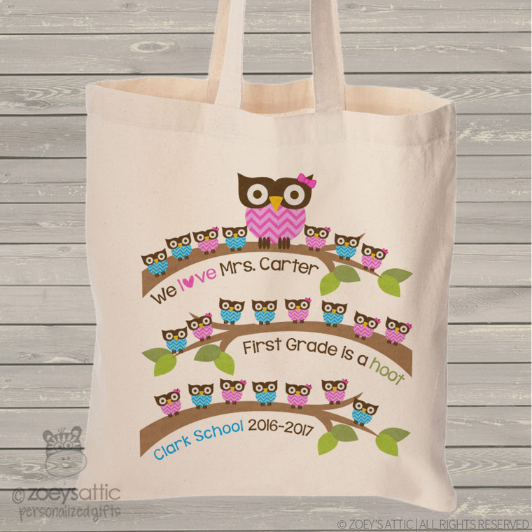 Teacher tote bag gift from students school hoot owl personalized tote bag