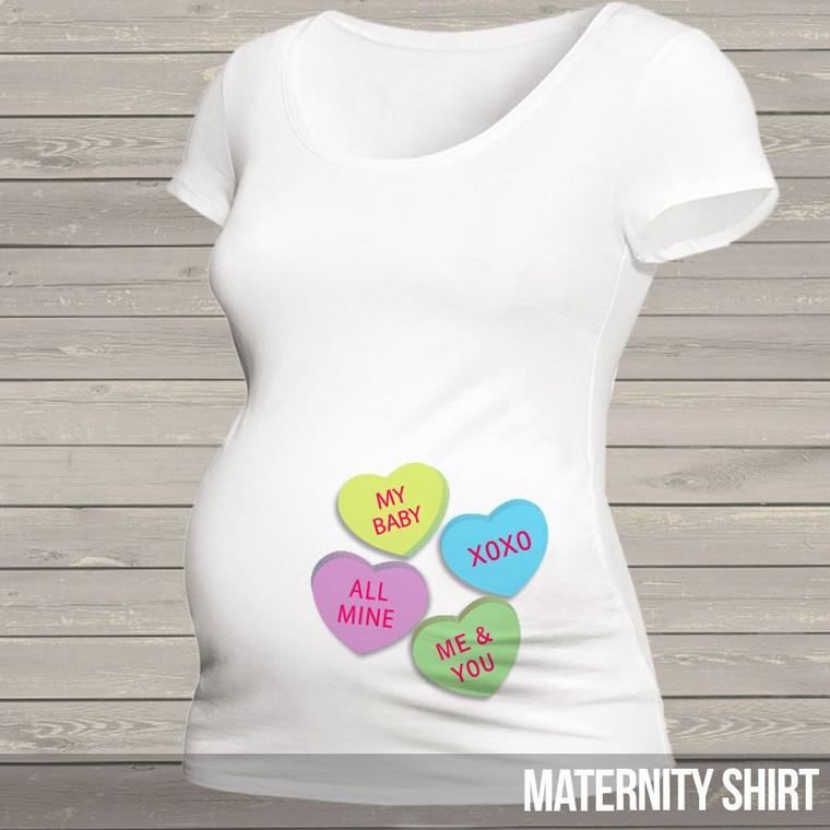 Valentine's Day maternity shirt - fun conversation hearts custom womens non-maternity or maternity Tshirt