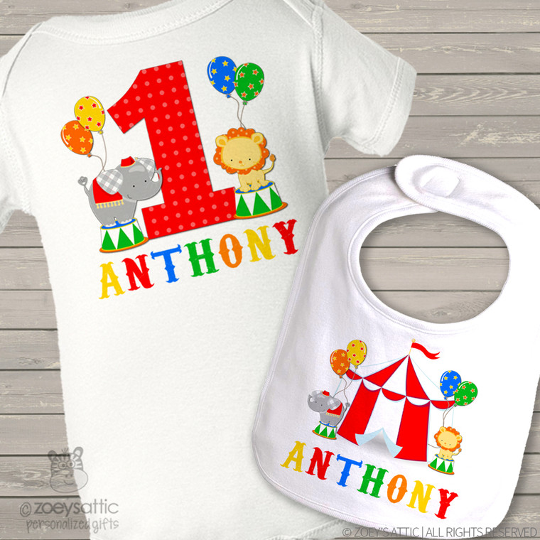 First birthday shirt circus boy or girl personalized Tshirt or bodysuit and circus bib matching set