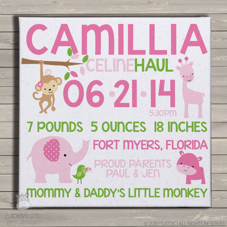 Birth announcement canvas print GIRL jungle animals custom birth announcement poster