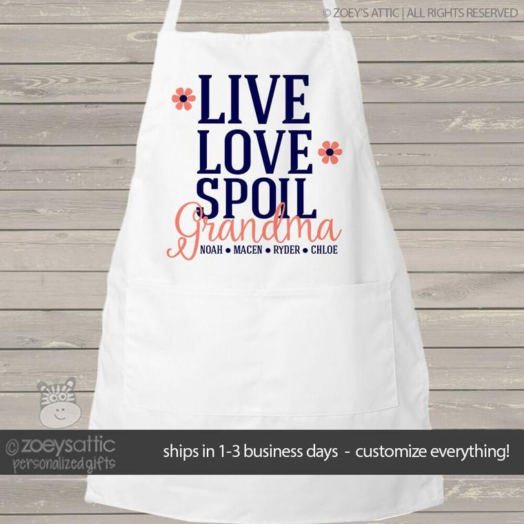 Apron nana or grandma live love spoil adult personalized bib apron