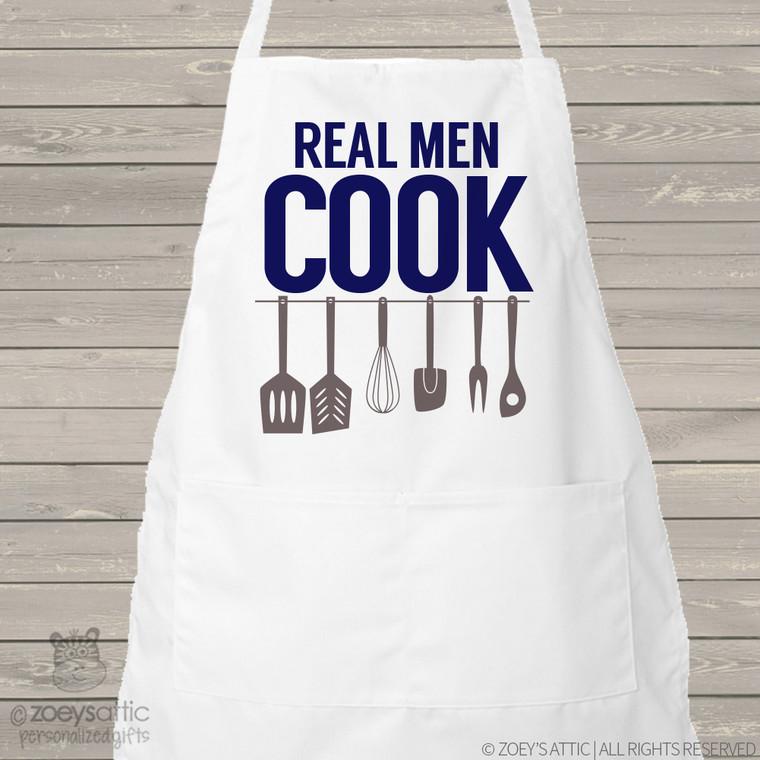 Apron dad or grandpa real men cook funny adult custom bib apron