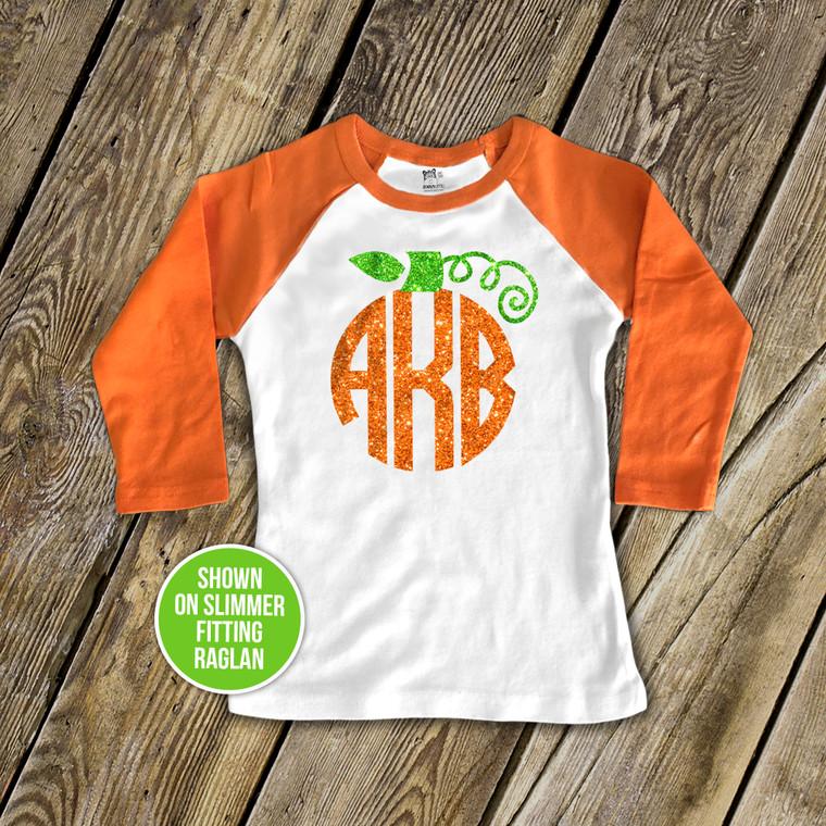 Monogram sparkly pumpkin girls raglan shirt
