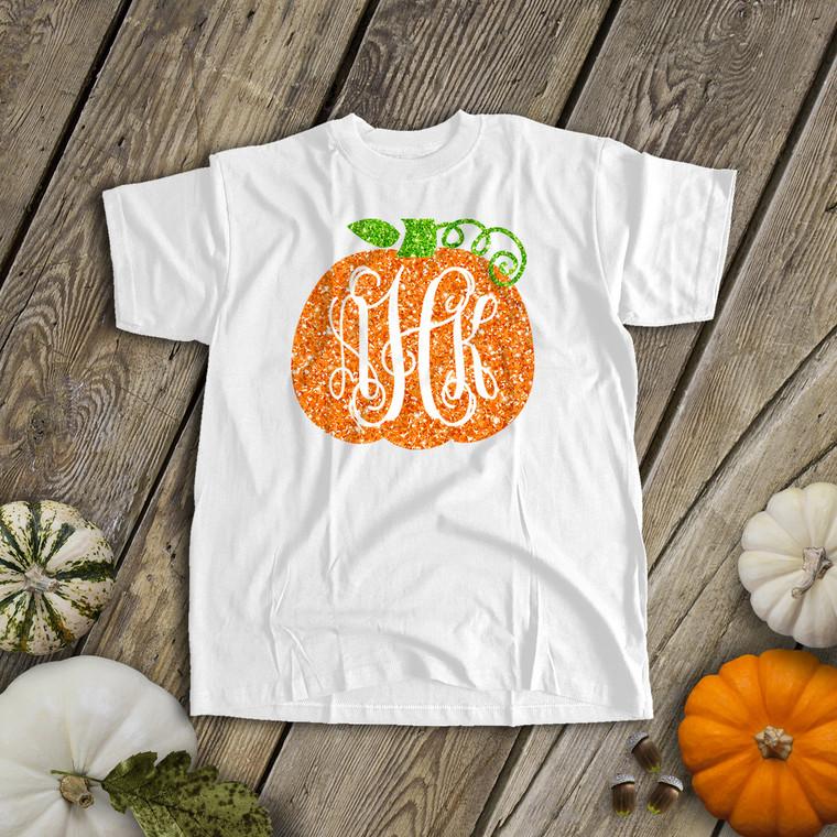 Fall pumpkin vine monogram sparkly glitter t-shirt