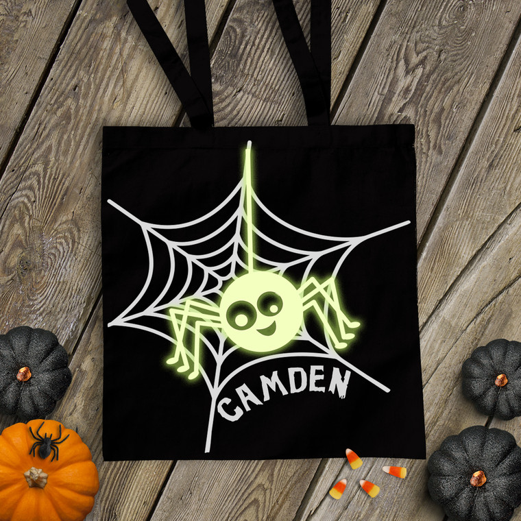 Halloween spider glow in the dark trick or treat bag