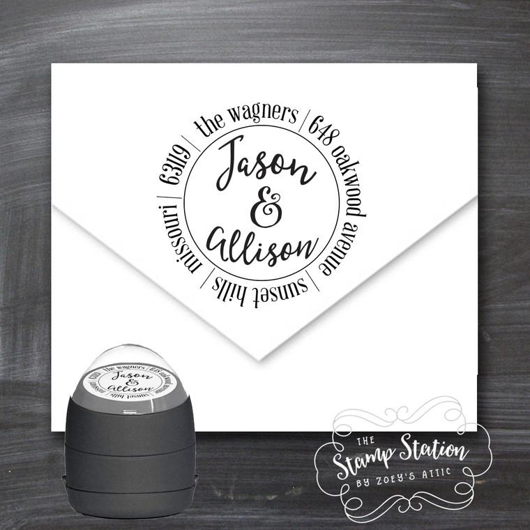 First names round address self inking stamp
