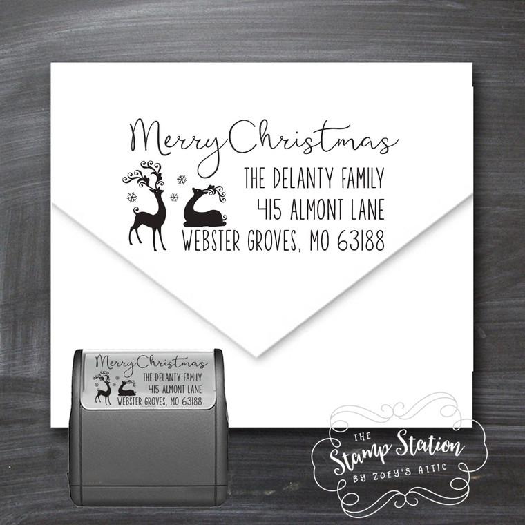 Reindeer Christmas card return address self inking stamp