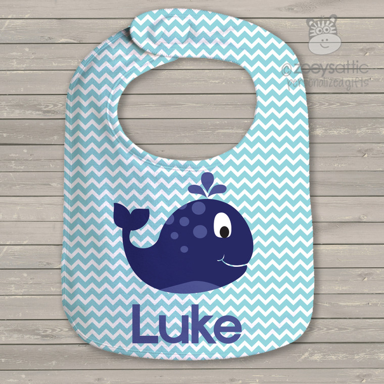 Whale nautical boys personalized bib