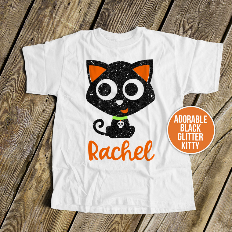 Halloween black cat glitter Tshirt