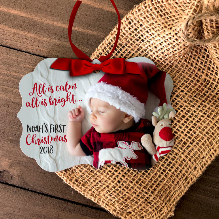 Baby's First Christmas all is calm all is bright photo ornament