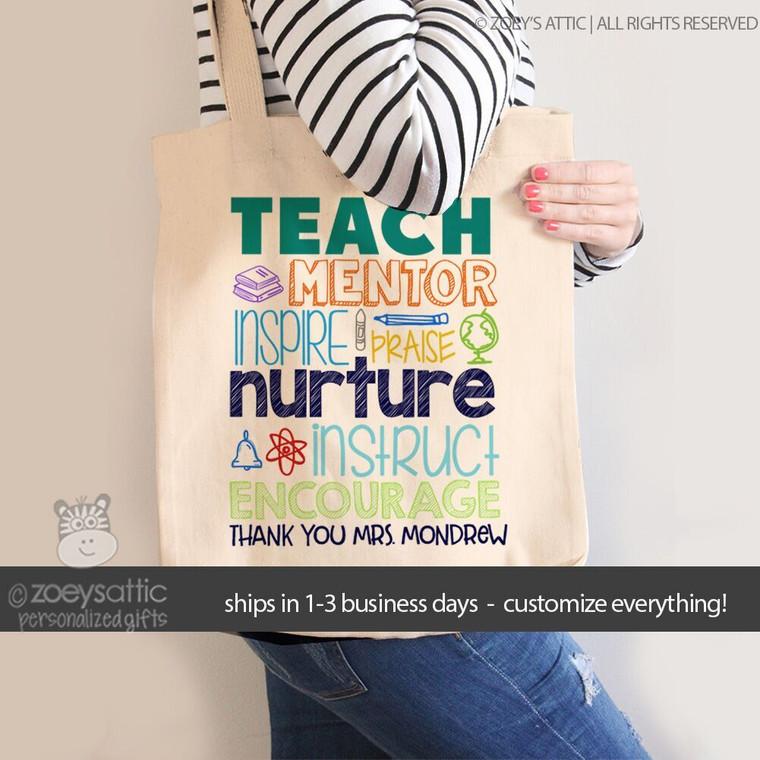 Teach mentor inspire tote bag