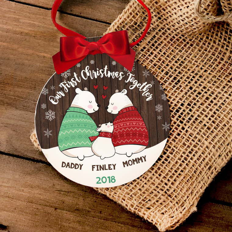 First Christmas daddy mommy baby bear ornament