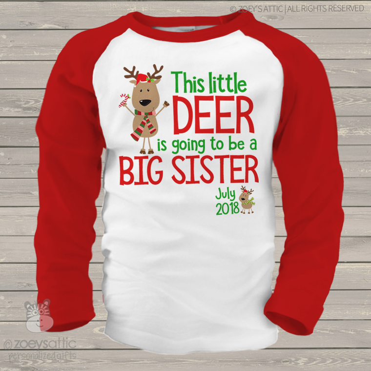 Christmas reindeer big sister to be raglan shirt