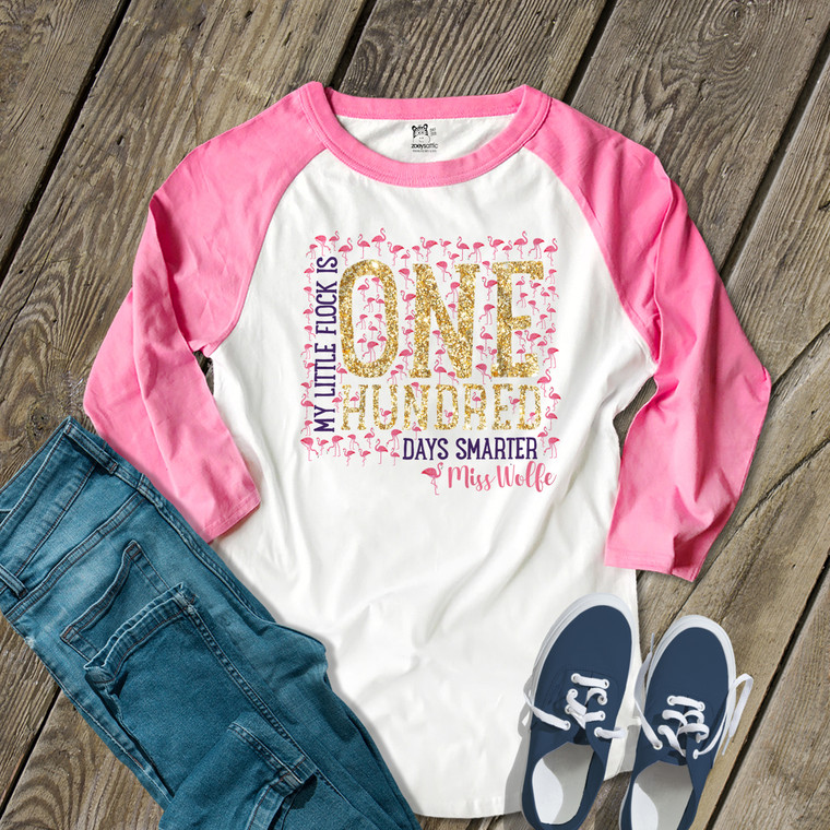 Teacher 100 days gold foil pink flamingo flock unisex adult raglan shirt