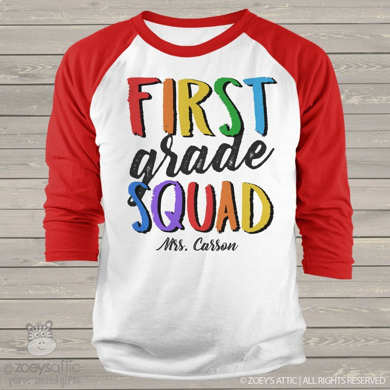 Teacher any grade squad personalized adult raglan shirt