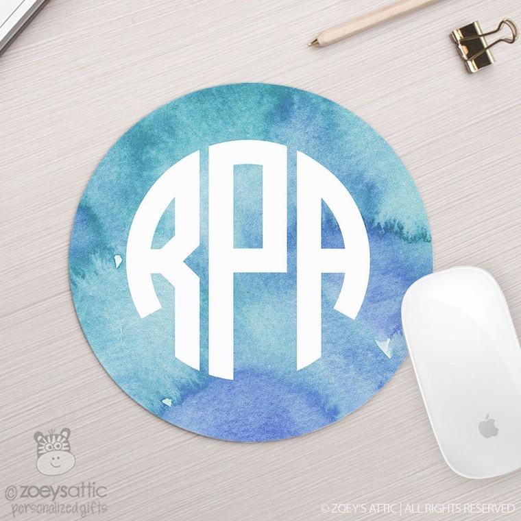 Monogram watercolor round / circular mousepad