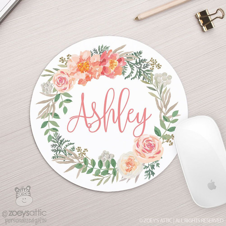 Floral wreath personalized round / circular mousepad