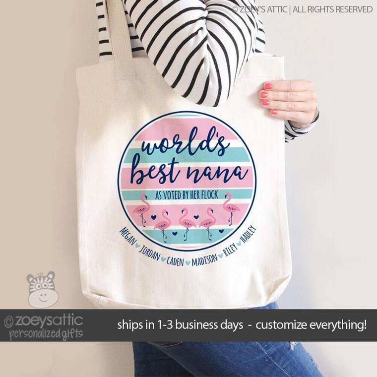 World's best Nana pink flamingo personalized tote bag