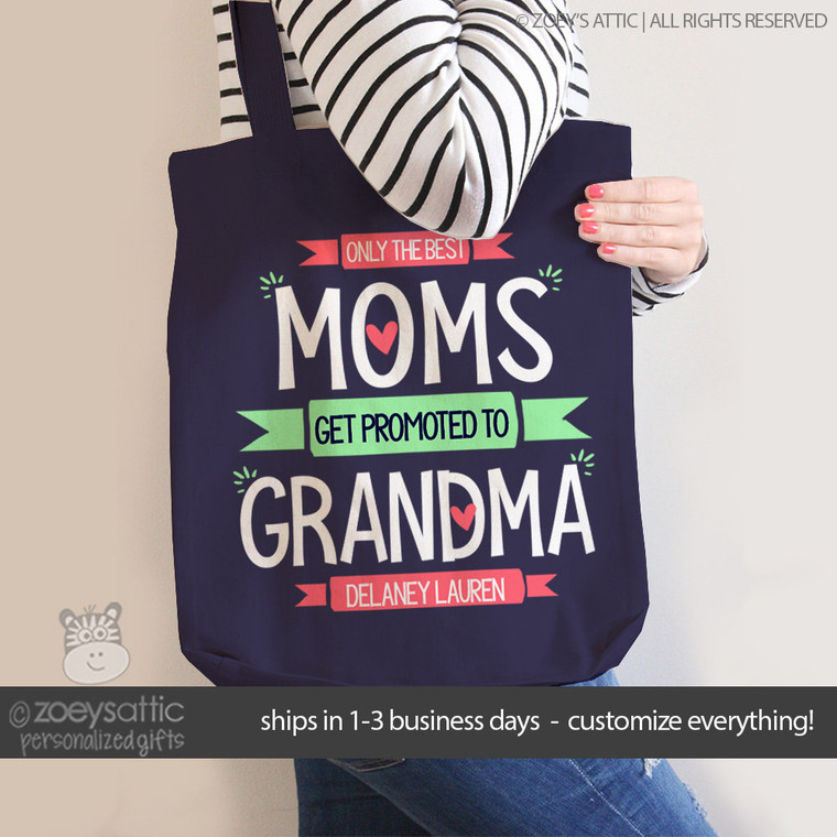Best moms get promoted to grandma personalized DARK tote bag