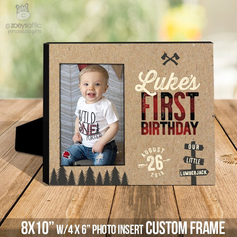 First birthday lumberjack buffalo plaid photo frame
