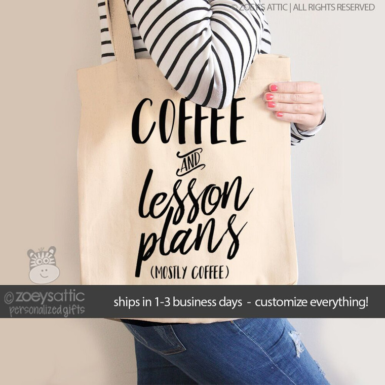Teacher coffee and lesson plans tote bag
