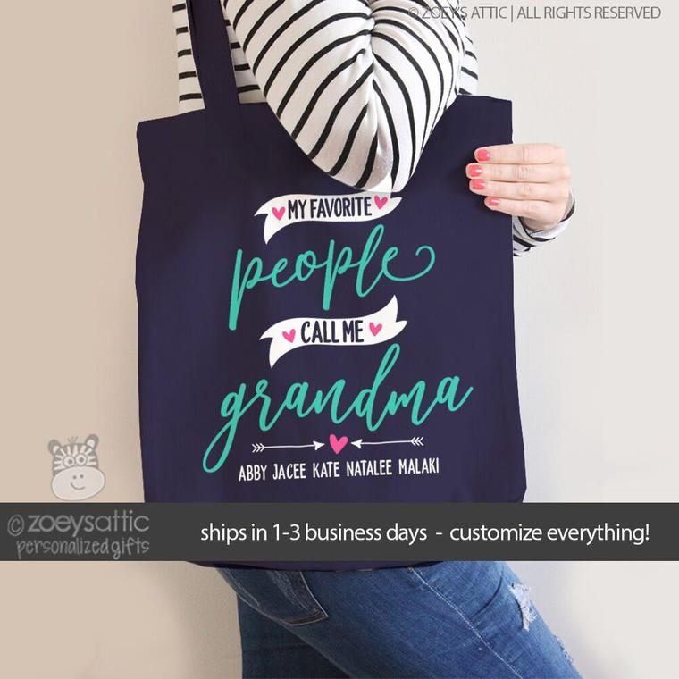 My favorite people call me grandma personalized DARK tote bag