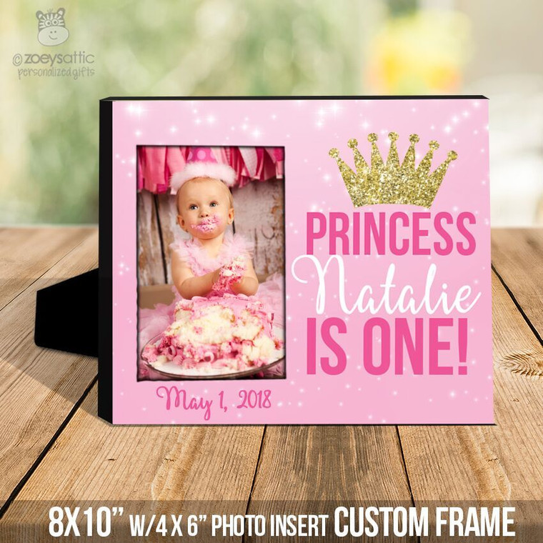Birthday princess gold glitter crown  photo frame