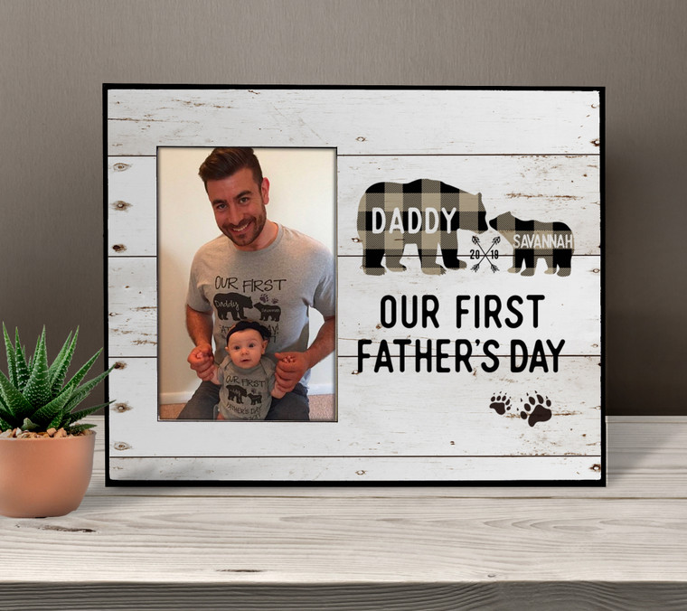 First Fathers Day buffalo plaid bear photo frame