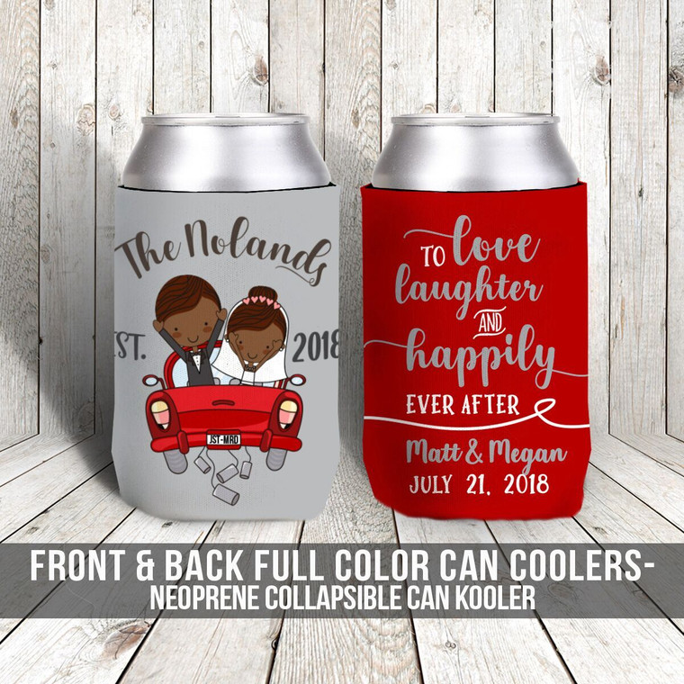 Wedding just married love laughter and happily ever after can coolies