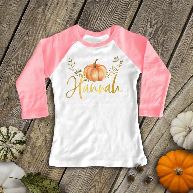 Fall pumpkin glitter or foil personalized girls raglan shirt
