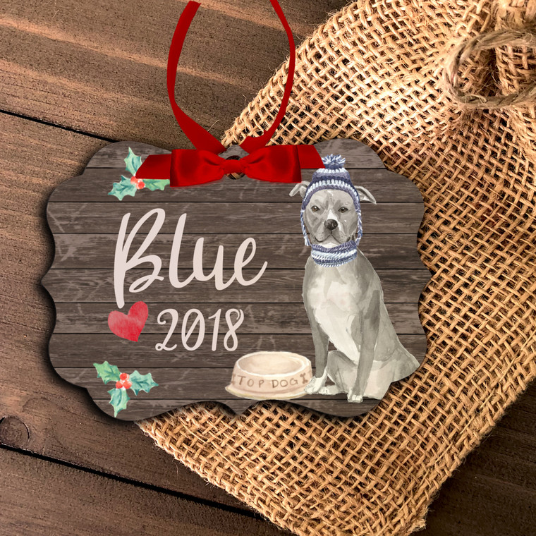 Blue Pittie pit bull personalized Christmas ornament