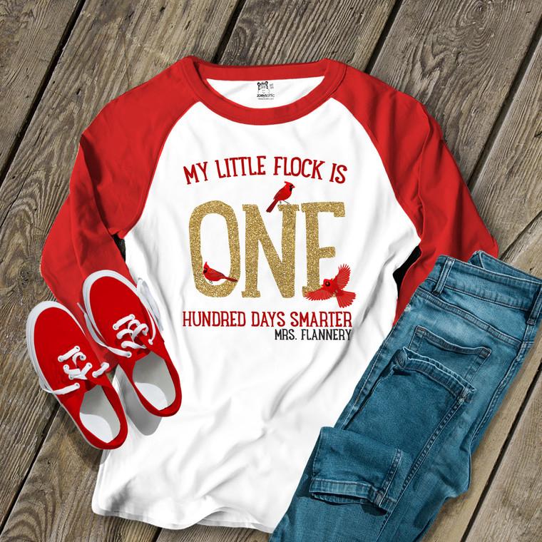 Teacher 100 days cardinal glitter unisex adult raglan shirt