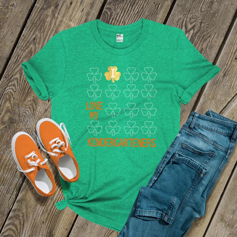 St. Patricks Day teacher I love my kindergarteners or any grade glitter or foil shamrock GREEN Tshirt
