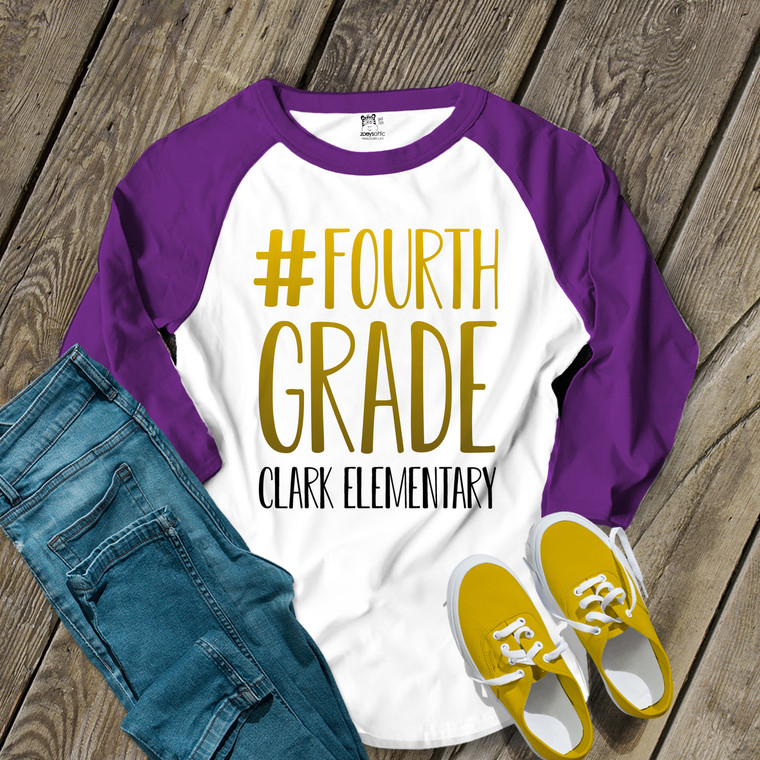 Teacher #fourth grade any color gradient text personalized adult raglan shirt