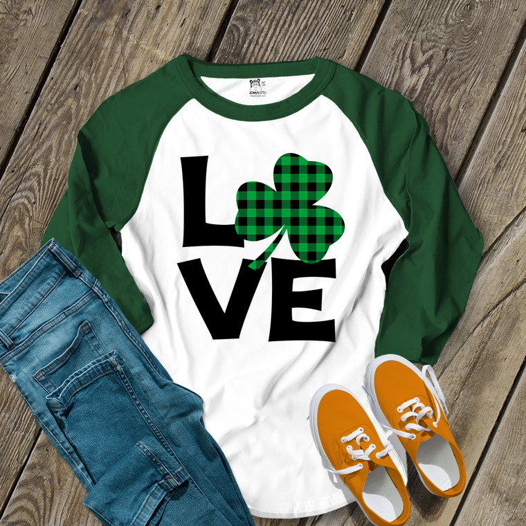 St. Patrick's Day love green buffalo plaid shamrock adult raglan shirt