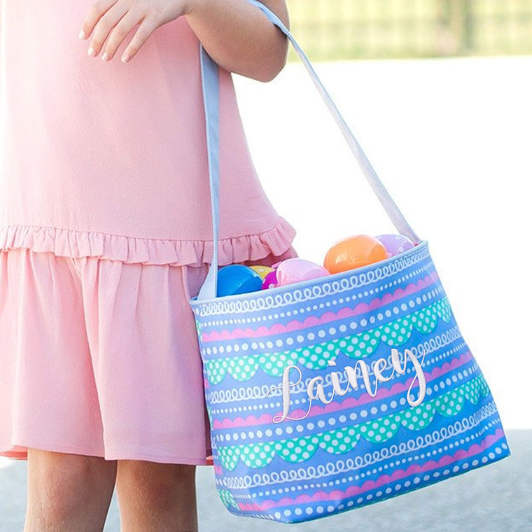 Easter basket girl pastel colors personalized embroidered basket