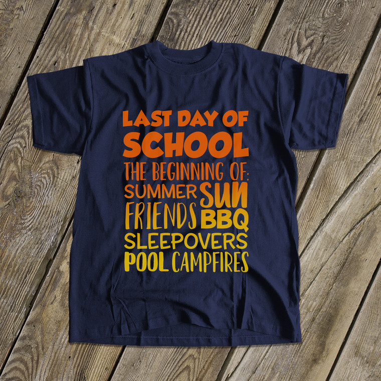 Last day of school summer sun DARK Tshirt
