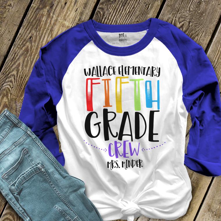 Teacher any grade crew unisex adult raglan shirt