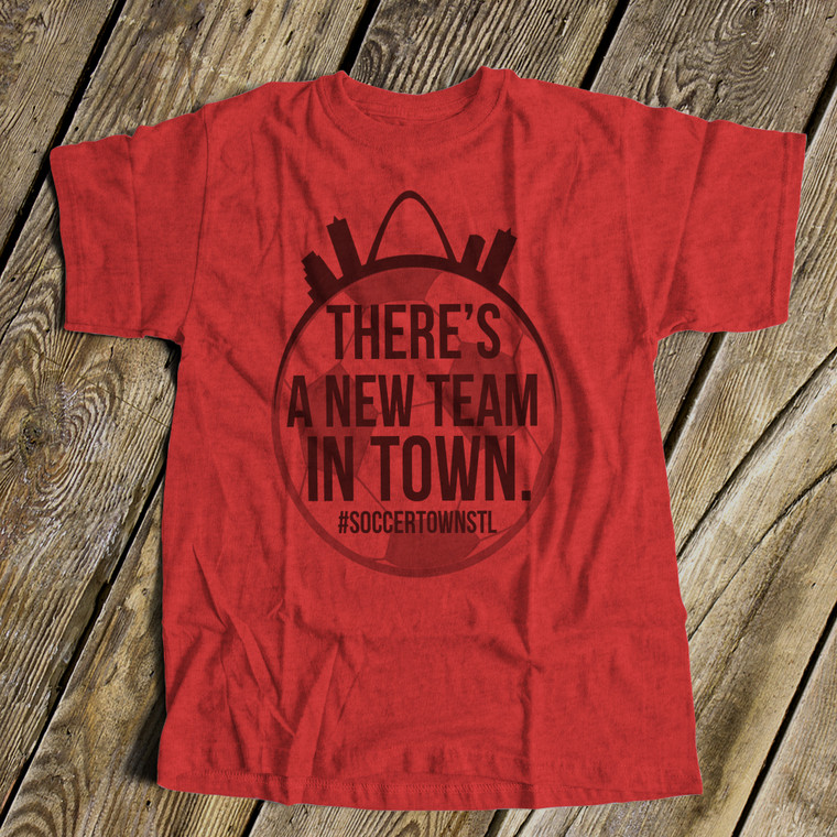 Soccer new team in town unisex Tshirt heather red