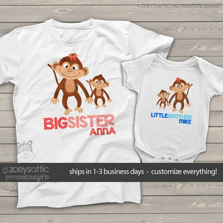 Brother or sister monkey sibling Tshirt set