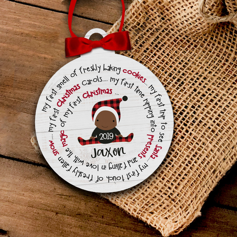 Holiday ornament baby's first Christmas girl or boy personalized ornament