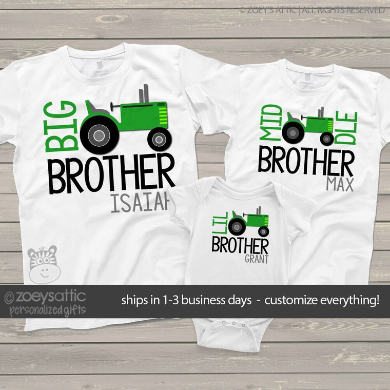 Big brother or sister tractor three sibling Tshirt set